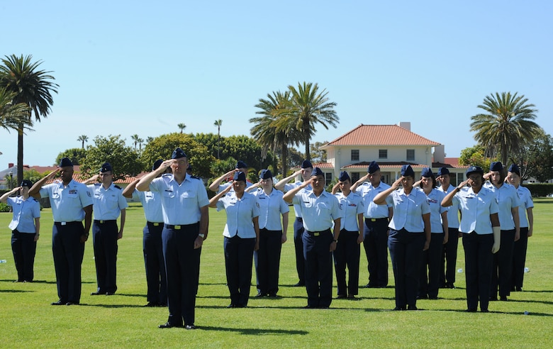Airmen from the 61st Air Base Group stand in formation during the SMC change of command ceremony, June 3. The ceremony was held at Fort MacArthur.  (Photo by Sarah Corrice)