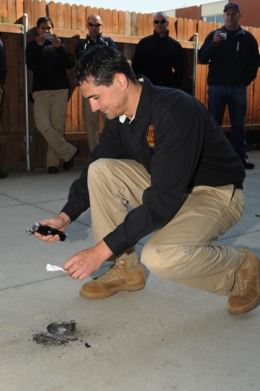 Sgt. Lukas Revaul from the 101st Civil Support Team (CST) prepares the homemade explosive he built during the Improvised Explosive Devise (IED) Awareness and Search Course, where members of the CST learn to recognize and respond to these homemade IED?s. The week-long course was given by Defense Services International (DSI), LLC on June 8 at Boise State University, Boise, Idaho. (U.S. Air Force Photo by Tech. Sgt. Becky Vanshur)