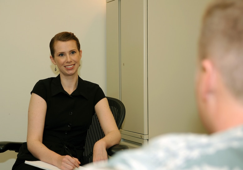 Annika Hunt, the new director of psychological health for the 151st Air Refueling Wing, poses in her office with a coworker on June 12. The Utah Air National Guard recently hired a full-time Licensed Clinical Social Worker to support the mental health needs of Guard members and their families.