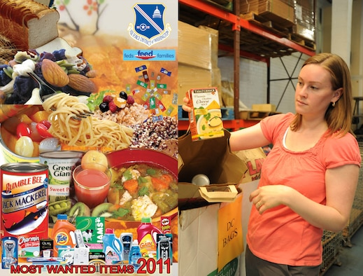 "Capital Food Bank coordinator and blogger Molly McGlinchy demonstrates bags filled with donated goods which feed senior citizens throughout the National Capital Region. This year the Department of Defense is expected to collect over 700,000 pounds in donated hygiene products and non-perishable food items for the 2011 Feds Feed Families campaign. Of that total, the Air Force District of Washington has set the goal of 20,000 lbs, or 100 of the boxes labeled ""Capital Foodbank"" which will be increasingly available throughout Joint Base Andrews in the coming weeks. This year's campaign began June 1 and ends Aug. 31.(USAF Photo Illustration by Doileen Dolo and Benjamin Newell)"