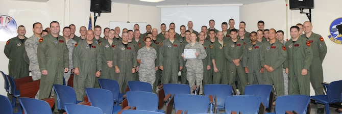 Airman 1st Class Kayla Miller, 96th Expeditionary Bomb Squadron intelligence mission planner, was awarded Andersen's Best here June 7.