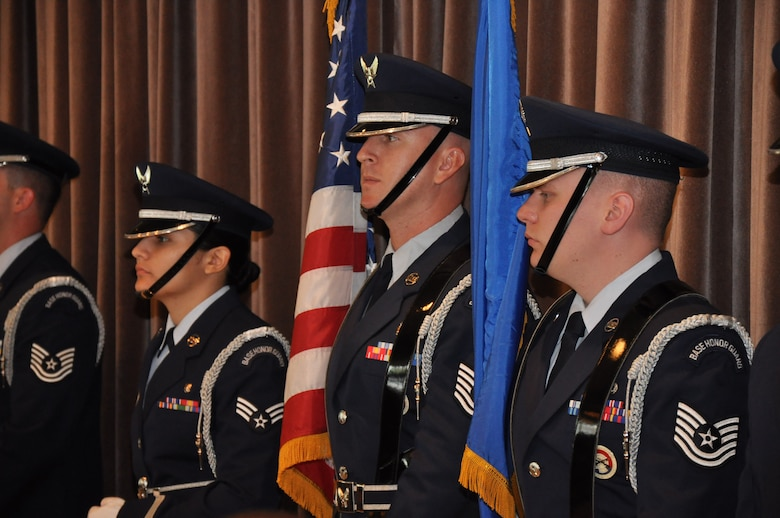 Members of the Connecticut Air National Guard 103rd Airlift Wing's Base Honor Guard stand at attention during the 62nd annual Armed Forces Day Luncheon at the Aqua Turf Club in Southington May 20, 2011. (Photo by 2nd Lt. Emily Hein)