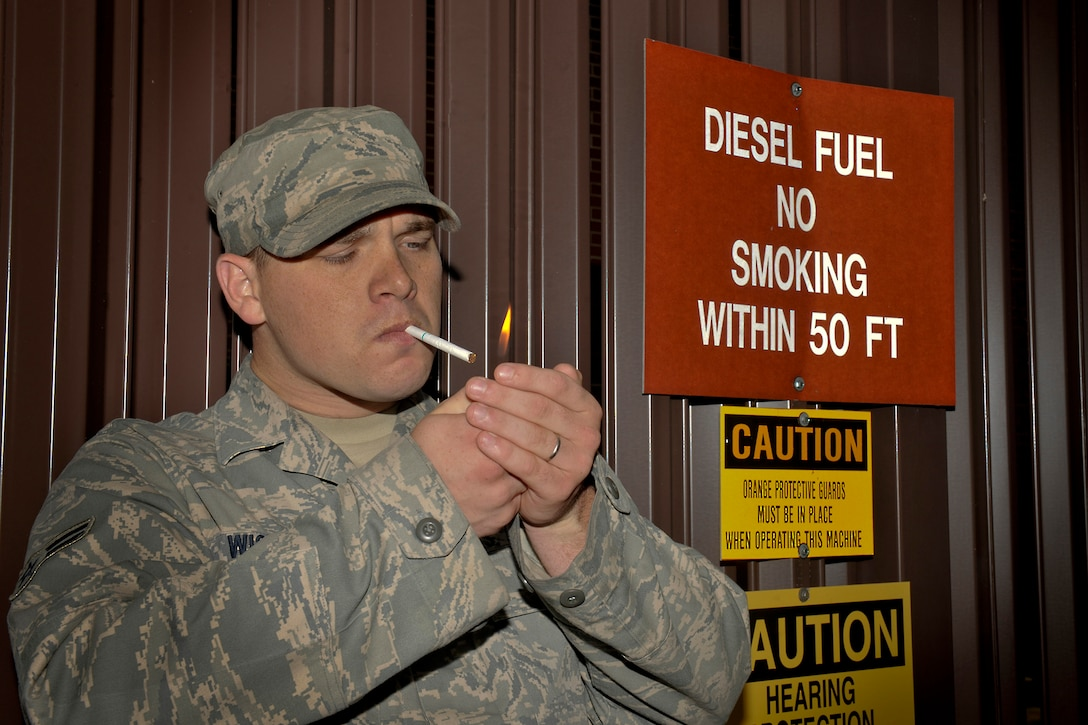 Department of Defense members should be aware of all designated smoking areas in order to avoid becoming complacent with obvious smoking restrictions on base. Moody Air Force Base offers a cessation program that provides multiple ways to kick the habit. If you make the decision to quit, call the Moody AFB Quit Line at 1-877-695-7848, or call 229-257-4255 for more information. (U.S. Air Force photo by Airman 1st Class Joshua Green/Released)