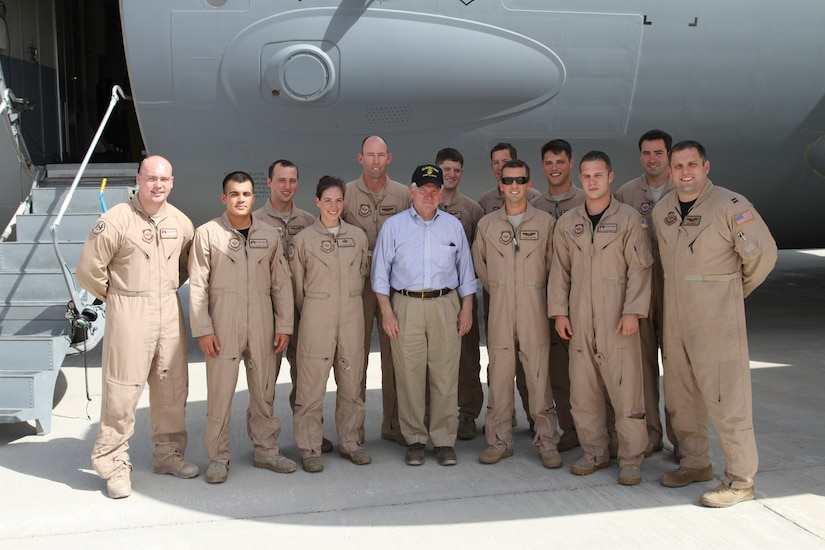 On a recent trip, Airmen from Joint Base Charleston flew Secretary of Defense Robert Gates on an overseas mission throughout Afghanistan and then from Belgium to Andrews Air Force Base. Pictured front row left to right are: Senior Airman Zach Asman from the 437th Security Forces Squadron, Staff Sgt. John Diaz-Colon, 437 SFS, Staff Sgt. Jessica Dial, 437th Aircraft Maintenance Squadron, Secretary of Defense Robert Gates, Capt. Jason Sanchez, 15th Airlift Squadron, Staff Sgt. Joseph Burton, 437 SFS and Capt. John Highley, 15 AS. Back row: Airman 1st Class Karl Gifford, 15 AS, Lt. Col. Mike Mitchell, 437th Operations Group, Staff Sgt. Grant Phillips, 15 AS, Staff Sgt. Ethan Hipple, 437 AMXS, Capt. Ben Peacock, 15 AS and Staff Sgt. Derek Southard, 437 SFS. (Secretary of Defense/Kevin Brown)