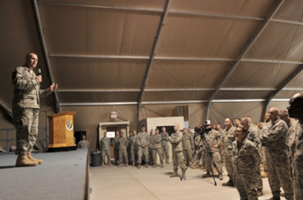 Chief Master Sergeant of the Air Force James A. Roy speaks to Airmen June 11, 2011, at the Transit Center at Manas, Kyrgyzstan. (U.S. Air Force photo/Staff Sgt. Stacy Moless)