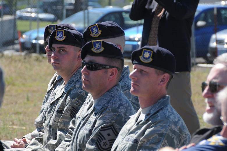 Members of the 173rd Security Forces Squadron listen during the ground breaking ceremony for the Joint Armed Forces Reserve Center (JAFRC) June 9, 2011 at Kingsley Field, Klamath Falls, Ore.  When completed the building will house the 173rd Security Forces Squadron and Charlie Troop, 1-82nd Cavalry, Oregon Army National Guard.  (U.S. Air Force Photo by Tech. Sgt Jennifer Shirar) RELEASED