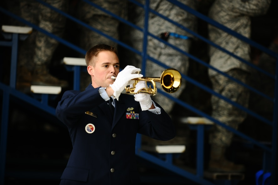 SPANGDAHLEM AIR BASE, Germany – Tech. Sgt. Nicholas Cooley, 52nd Force Support Squadron, performs Taps on his trumpet during the memorial service for Staff Sgt. Joseph J. Hamski, 52nd Civil Engineer Squadron Explosive Ordnance Disposal Flight, held here June 16. Sergeant Hamski was killed in action May 26, 2011, in Shorabak, Afghanistan, while responding to a known enemy weapons cache. (U.S. Air Force photo/Senior Airman Nathanael Callon)