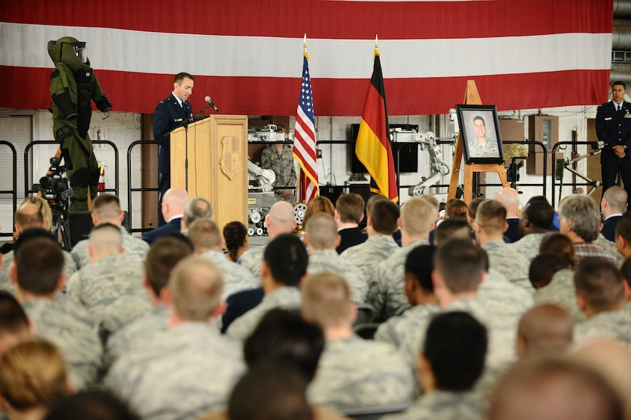 SPANGDAHLEM AIR BASE, Germany – Capt. Matthew Borawski, 52nd Civil Engineer Squadron Explosive Ordnance Disposal Flight commander, speaks during the memorial service for Staff Sgt. Joseph J. Hamski, 52nd CES EOD Flight, held here June 16. Sergeant Hamski was killed in action May 26, 2011, in Shorabak, Afghanistan, while responding to a known enemy weapons cache. (U.S. Air Force photo/Senior Airman Nathanael Callon)