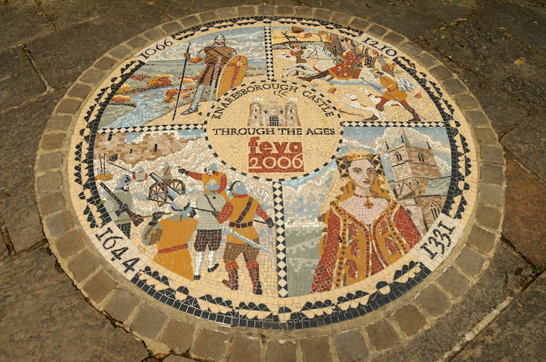 """KNARESBOROUGH, England – This mosaic gives a brief history of Knaresborough Castle. Participants on the RAF Lakenheath Outdoor Recreation """"Harry Potter and Loch Ness"""" trip visited the castle on May 28, 2011. For more information about travel opportunities call the RAF Lakenheath ODR office at commercial 01638 522 146 or DSN 226-2146. (U.S. Air Force photo/Staff Sgt. Stephen Linch)"""