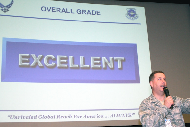 "Col. Andrew Molnar, team chief for the Air Mobility Command Inspector General, briefs the 108th Wing personnel about the Wing's performance during the IG inspection at the Joint Base McGuire-Dix-Lakehurst theater on Tuesday, June 14. The 108th Wing was inspected for operational readiness by the AMC IG team from June 8 through June 12. The 108th Wing achieved an overall grade of ""EXCELLENT"" during the inspection. (Photo by Staff Sgt. Armando Vasquez, 108th WG/PA)"