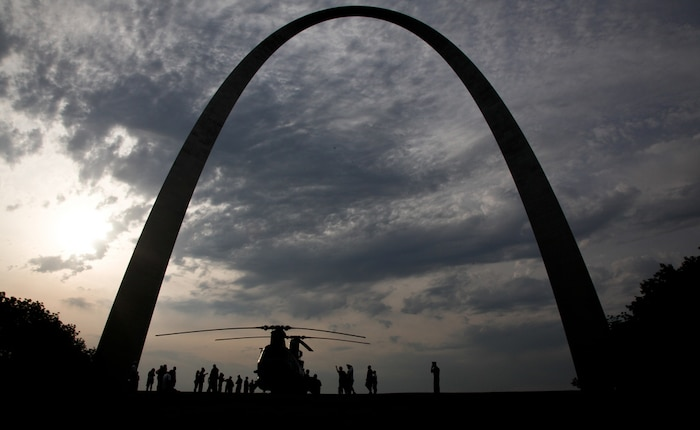 Marine pilots land a CH-46 Sea Knight as part of the static display under the Gateway Arch during Marine Week in St. Louis, June 20, 2011. Marine Week provides an opportunity to increase public awareness of the Marine Corps' value to our nation's defense and to preserve and mature the Corps' relationship with the American people. Photo by Sgt. Jimmy D. Shea::r::::n::