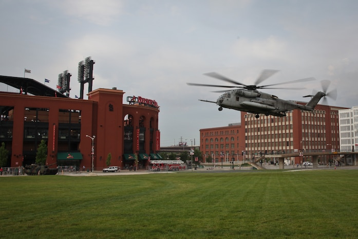 Marine pilots land a CH-53 Super Stallion as part of the static display at the Ballpark Village at Busch Stadium during Marine Week in St. Louis, June 20, 2011. Marine Week provides an opportunity to increase public awareness of the Marine Corps' value to our nation's defense and to preserve and mature the Corps' relationship with the American people. Photo by Sgt. Jimmy D. Shea::r::::n::