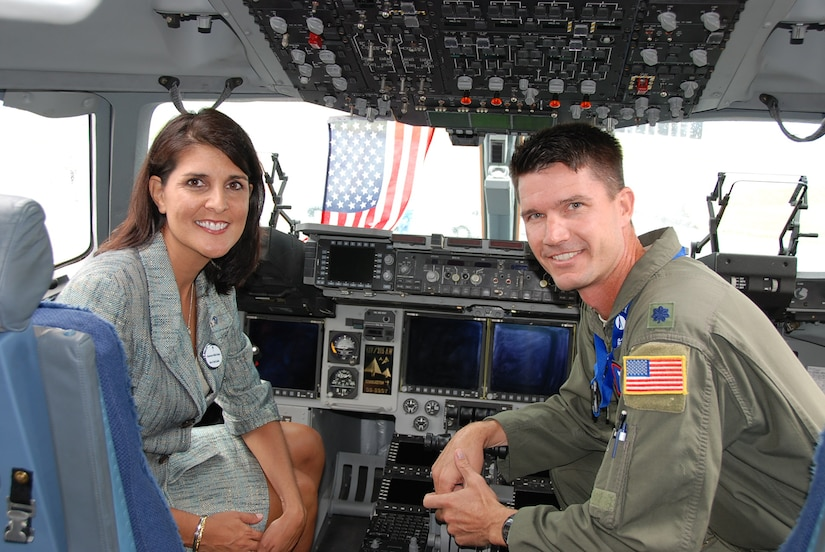 South Carolina Gov.Nikki Haley was recently in Paris on state business and had the opportunity to meet with members of the 437th Maintenance and Operations Groups that flew a Joint Base Charleston C-17 to France to participate in the world-renowned Paris Air Show. Pictured with the governor, June 20, is Lt. Col. Chad Rauls, 15th Airlift Squadron director of operations.