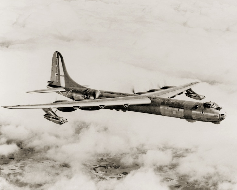 Consolidated Vultee (later Convair) designed the B-36 Peacemaker to meet the Air Force's requirement for a strategic bomber with intercontinental range. (Air Force photo)