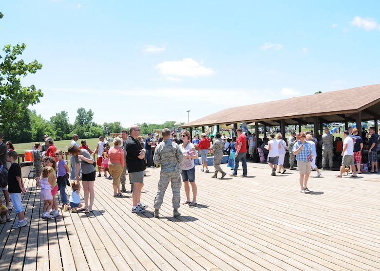 Current and retired members of the 131st Bomb Wing and their families participate in Wing Family Day at Ike Skelton Park, Whiteman AFB, MO, June 11.  (Photo by Master Sgt, Mary-Dale Amison)