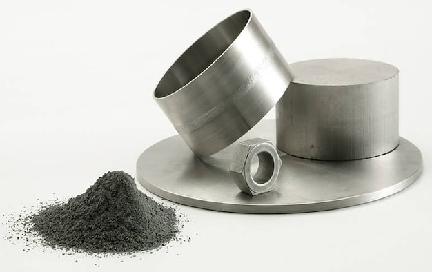 Low-cost titanium powder and titanium parts. Titanium is stronger and lighter than steel, and use of titanium reduces the material required to manufacture an aerospace component by up to 90 percent.  (AFRL image)
