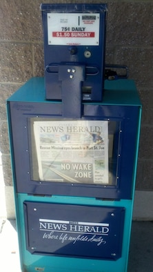 Felix Lake Shoppette newspaper stand.