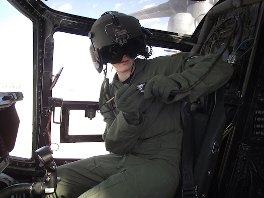 1st Lt. Candice Killian prepares to fly a CV-22 Osprey. Lieutenant Killian is the first qualified female CV-22 pilot.  (U.S. Air Force photo/Stefan Bocchino)