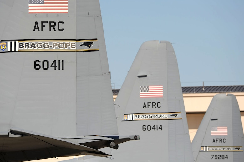 The C-130 Hercules aircraft displays the Fort Bragg-Pope Field tail flashing of the 440th Airlift Wing at Field, N.C. The former air force base was redesignated Pope Field March 1, 2011. (U.S. Air Force photo/Staff Sgt. Peter R. Miller)