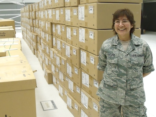 Pat Katzer, a network systems engineer at the Air Force Network Integration Center, seen here in 2009, provided on-site network engineering for the Combined Air Operations Center in Southwest Asia.  Ms. Katzer specializes in command and control intelligence, surveillance and reconnaissance telecommunications engineering. (Courtesy photo)