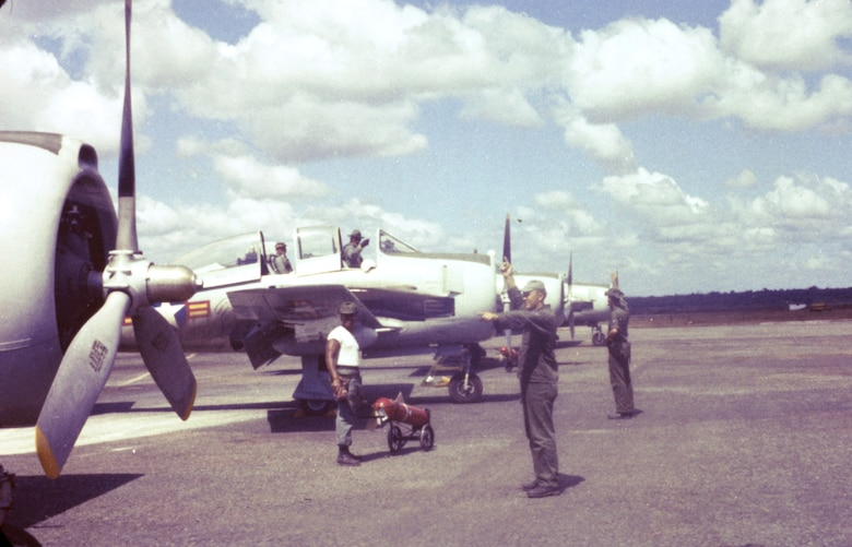 U.S. Air Force Airmen train South Vietnam pilots, Bien Hoa Air Base, 1961. (U.S. Air Force photo).