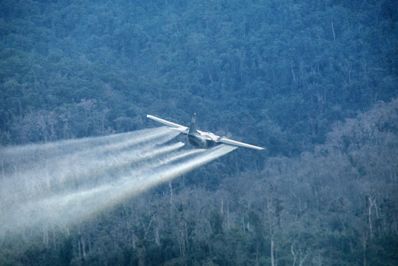 U.S. Air Force aircraft spraying defoliant. (U.S. Air Force photo).