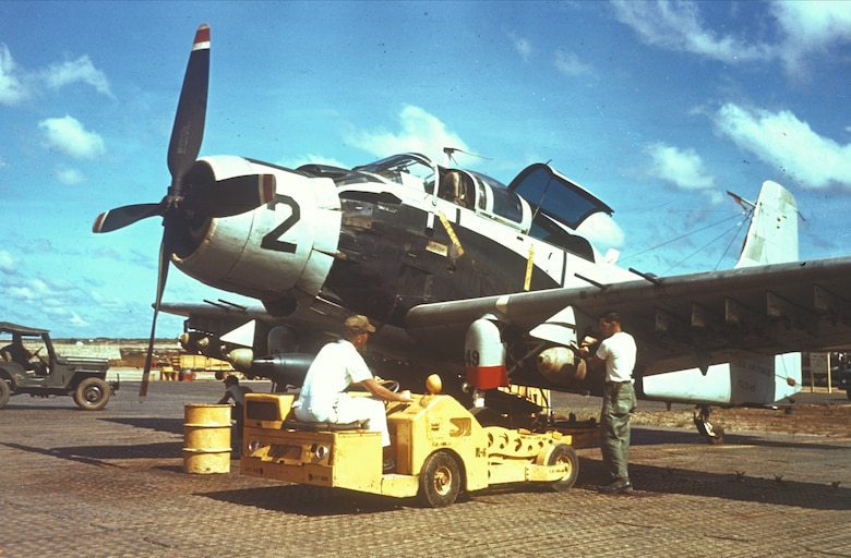 At first, the U.S. Air Force sent propeller-driven attack aircraft to aid South Vietnam. (U.S. Air Force photo).
