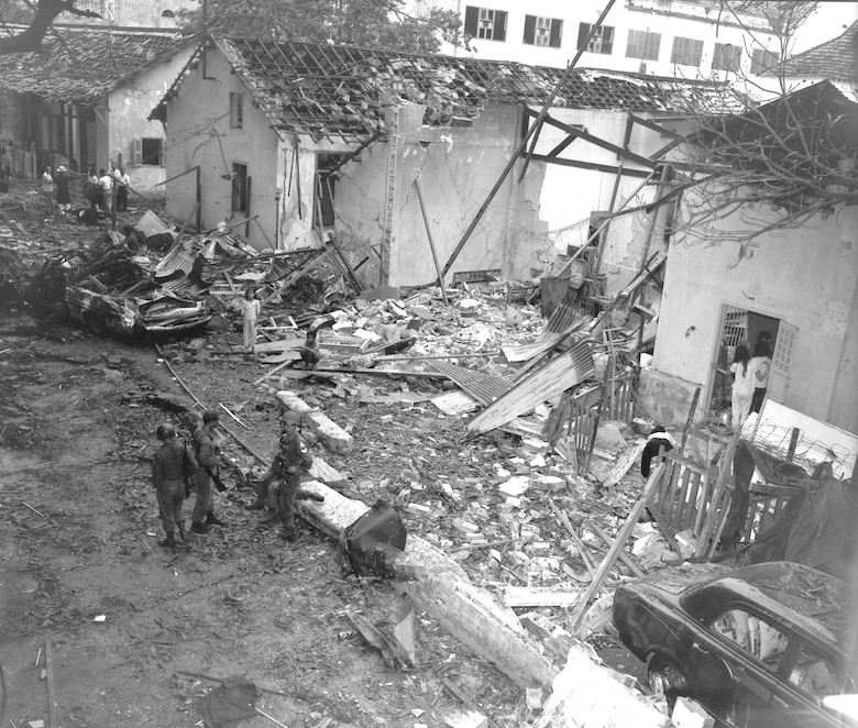 A Viet Cong terrorist bombing killed 2 Americans and injured 107 people at the Brinks Hotel, Saigon, on Christmas Eve 1964. (U.S. Air Force photo).