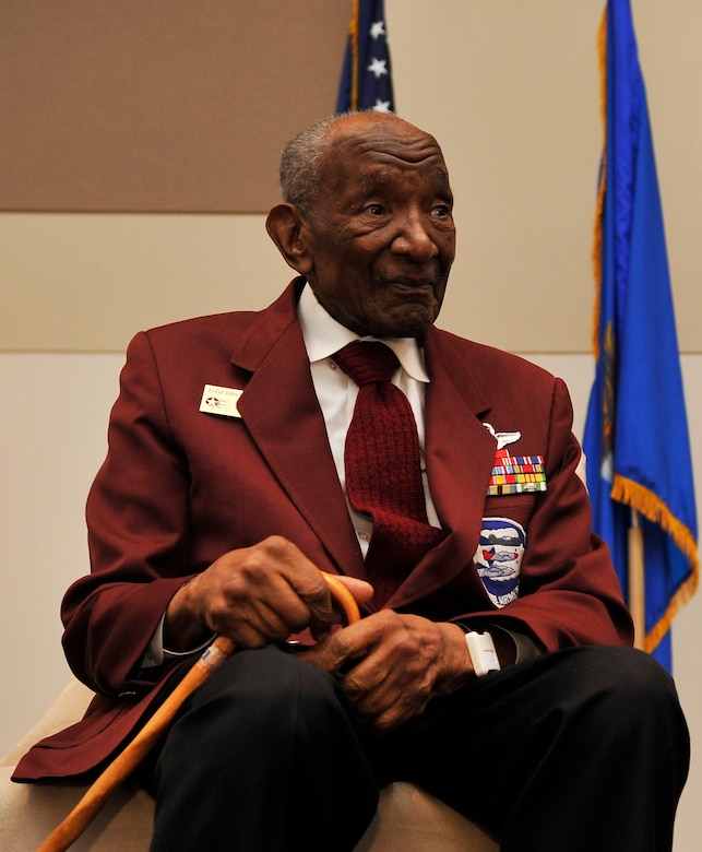 BUCKLEY AIR FORCE BASE, Colo. -- Retired Tuskegee Airman Lt. Col. John W. Mosley Jr. visited Buckley Air Force Base for the Black History Month luncheon February 28, 2011. Col. Mosley Jr. gave his account on the trials and tribulations he faced on the road to pursuing his wings and becoming a proud Tuskegee Airman. (U.S. Air Force Photo by Airman 1st Class Paul Labbe.)