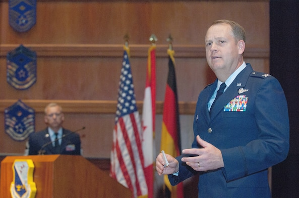 Colonel Stewart Price, the incoming commander of the Thomas Barnes Center for Enlisted Education, shares his thoughts during a ceremony Feb. 24. (Air Force photo/Melanie Rodgers Cox)