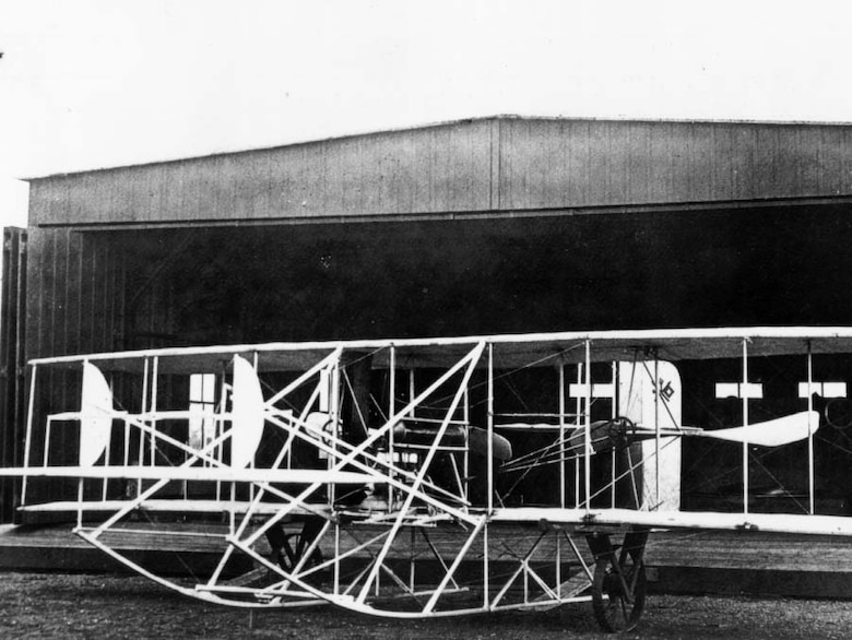 In front of its hanger at Ft. Sam Houston, 1910
