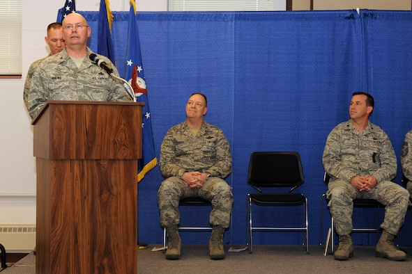 Outgoing 174th Fighter Wing Mission Support Group Commander Col. Harvey M. Van Wie, Jr. addresses the members of the 174th Fighter Wing after relinquishing the 174th FW MSG guidon to incoming commander Lt. Col. Earl A. Evans. Col. Van Wie has served in the military for more than 40 years and has been assigned as the Special Projects Project Officer for the 174FW. (USAF Photo by: Staff Sgt. James N. Faso II/ RELEASED)