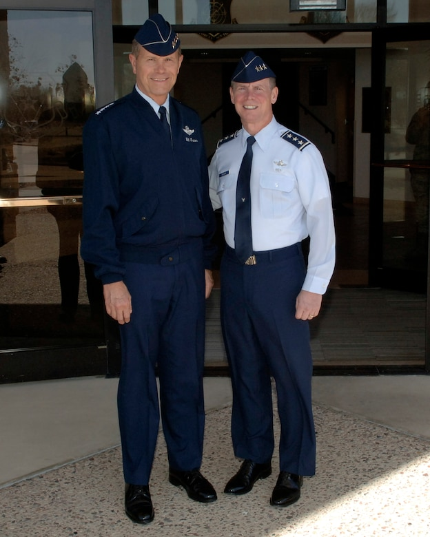 DAVIS-MONTHAN AFB, Ariz. -- Gen. William M. Fraser (left), Air Combat Command commander, stands for a photo with Lt. Gen. Glenn Spears, 12th Air Force (Air Forces Southern) commander during a Mar. 7 visit here. (U.S. Air Force photo/Tech. Sgt. Eric Petosky)