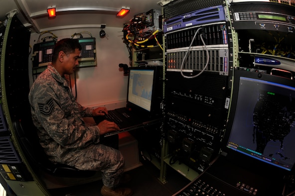 Oregon Air National Guard Tech. Sgt. Ricardo Camacho of the 116th Air Control Squadron operates in a network cyber transport computer during pre-deployment training in preporation for Operation Enduring Freedom, at Camp Rilea, Ore., on February 3, 2001. Camacho is about to embark on his second deployment to the Middle East and has been with the 116th since 2007. (U.S. Air Force photograph by Tech. Sgt. John Hughel, 142nd Fighter Wing Public Affairs)