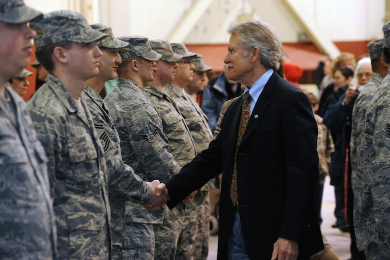 Oregon Governor John Kitzhaber meets with more than 80 Airmen of the Oregon Air National Guard's 116th Air Control Squadron, following the unit's mobilization ceremony at the Portland Air Guard Base in Portland, Ore., Mar. 4.  Kitzhaber, Maj. Gen. Raymond F. Rees, Adjutant General, Oregon; Brig. Gen. Steven Gregg, Oregon Air National Guard Commander; Congressman David Wu (OR-District 1), and other dignitaries, along with hundreds of family, friends, fellow Airmen and Soldiers attended the event.  The unit's Airmen will deploy to the Middle East in support of Air Forces Central (CENTAF), where they will perform Air Battle Management missions for four months.  (U.S. Air Force photograph by Tech. Sgt. John Hughel, 142nd Fighter Wing Public Affairs)