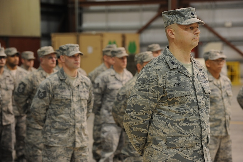 Oregon Air National Guard Lt. Col. Gregor Leist, 116th Air Control Squadron Commander, stands in front of the Airmen deploying to the Middle East in support of Operation Enduring Freedom on March 4, 2011. The mobilization ceremony  held at the Portland Air National Guard Base, Portland, Ore was attented by Congressman David Wu (OR-District 1), Oregon Governor John Kitzhaber, Maj. Gen. Raymond F. Rees, Adjutant General, Oregon, and Brig. Gen. Steven Gregg, Commander of the Oregon Air National Guard. (U.S. Air Force photograph by Tech. Sgt. John Hughel, 142nd Fighter Wing Public Affairs)