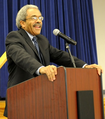 The Honorable Judge Vance Raye, speaks at the 2011 African-American, Black History Month luncheon Feb. 24 at the Recce Point Club. Judge Raye's message focused on the trials and hardships suffered by African-Americans not only during the Civil War, but throughout history.