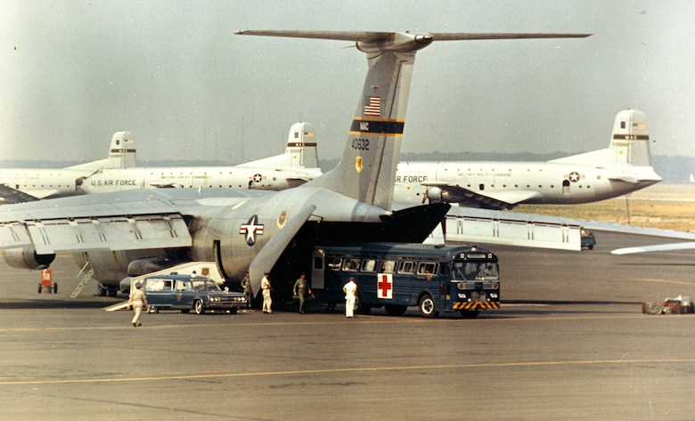 U.S. Air Force heavy transports brought supplies and troops to Southeast Asia, and also returned wounded to the U.S. (U.S. Air Force photo).