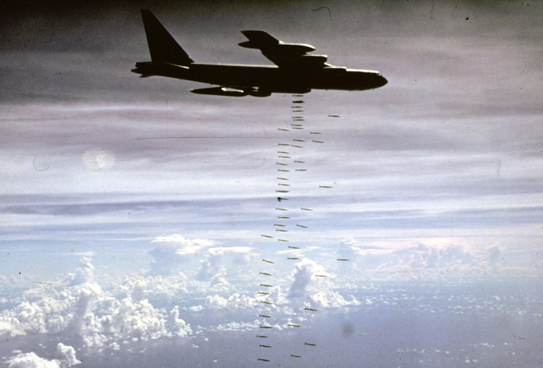 U.S. Air Force B-52 heavy bombers struck communist forces in the missions named ARC LIGHT. (U.S. Air Force photo).
