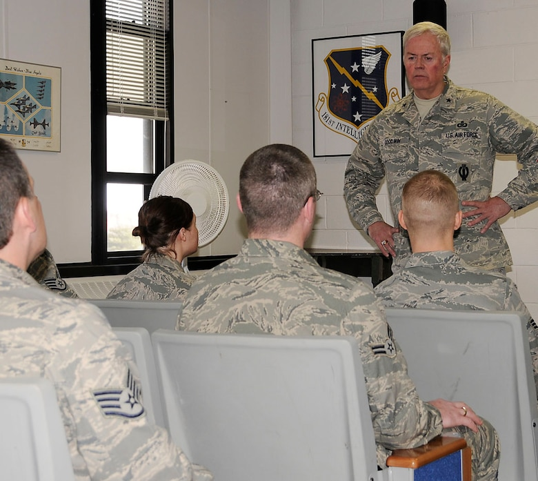Brig. Gen. J. Stewart Goodwin,  JFHQ-IN, listen to the concerns of the 181st Junior Enlisted Council during a meeting Feb UTA
