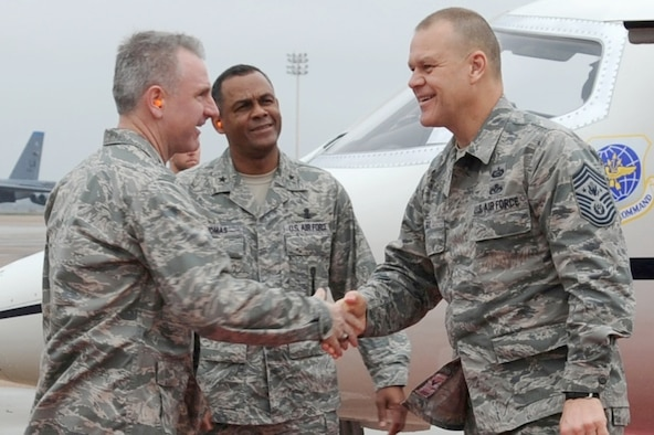 Col. Tim Fay with Brig. Gen. Everett Thomas greets Chief Master Sgt. of the Air Force James A. Roy upon his arrival to Barksdale Air Force Base, La., March 8, 2011. Colonel Fay is the the 2nd Bomb Wing commander. General Thomas is the Air Force Global Strike Command vice commander. (U.S. Air Force photo/Senior Airman Alexandra M. Boutte)