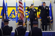 U.S. Air Force Major General Eric W. Crabtree (left), and Brigadier General Mark A. Kyle salute during the 4th Air Force change of command ceremony on March 12, 2011. (U.S. Air Force photo by Technical Sgt. Christine Jones) (released)
