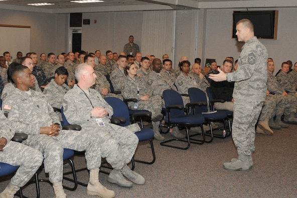 Chief Master Sgt. of the Air Force James A. Roy addresses members of the White House Communications Agency during a visit to Joint Base Bolling-Anacostia, D.C. (Courtesy photo)