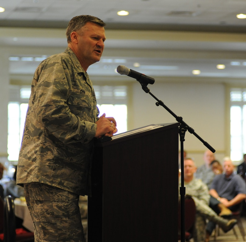 Brigadier Gen. David Cyr speaks about the importance of prayer during the National Prayer Breakfast March 15 at the Charleston Club on Joint Base Charleston. General Cyr is the Air Force Deputy Chief of Chaplains.  (U.S. Air Force photo by Staff Sgt. Nicole Mickle)