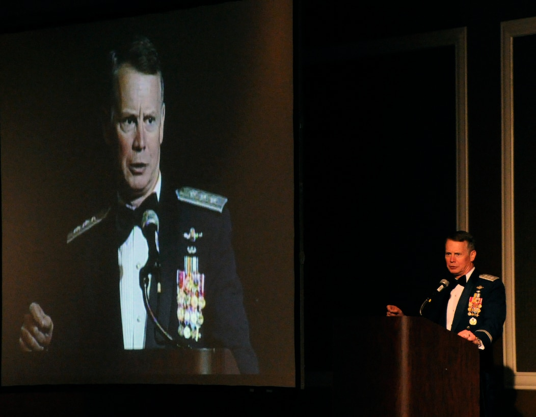 Lt. Gen. Glenn Spears delivers his closing remarks during the 12th Air Force Outstanding Performer of the Year banquet in Las Vegas Feb. 23.