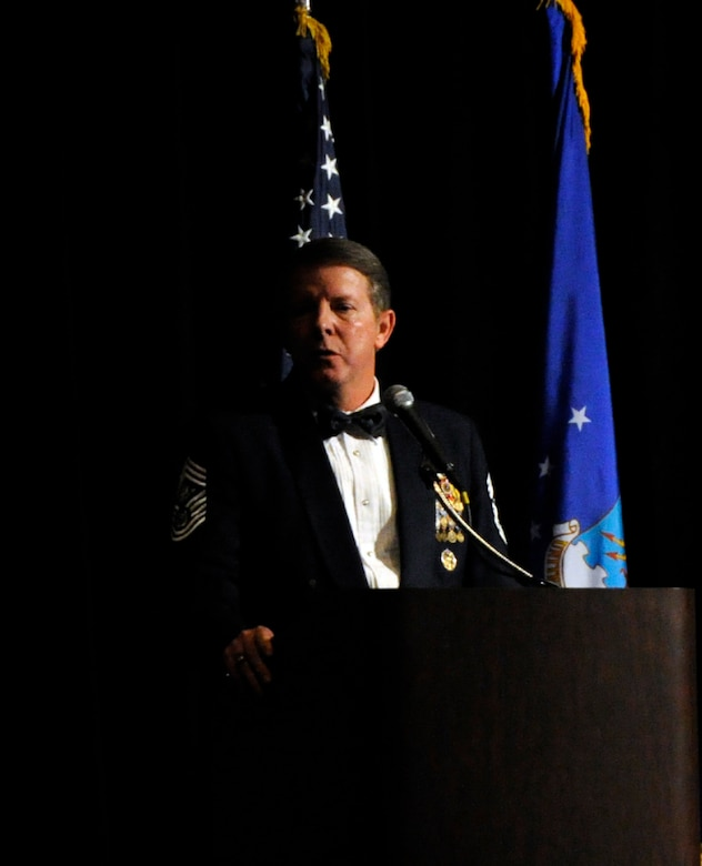 Former Chief Master Sergeant of the Air Force Rodney McKinley relates a story to the 12th Air Force Outstanding Performer of the Year banquet attendees in Las Vegas Feb. 23.