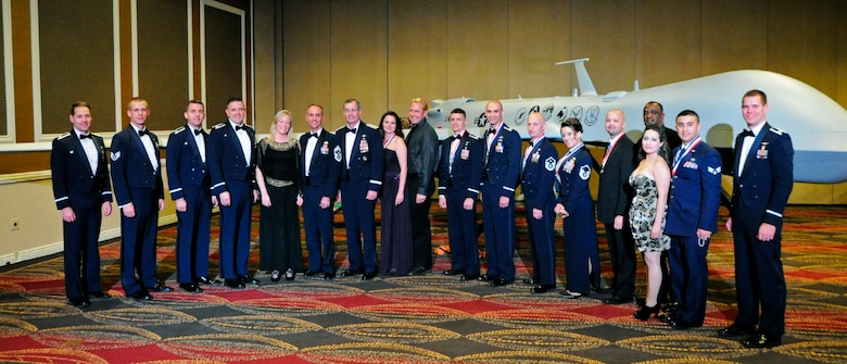 Award nominees pose for a picture with their spouses and co-workers at the 12th Air Force (Air Forces Southern) Outstanding Performer of the Year Banquet in Las Vegas Feb. 23.