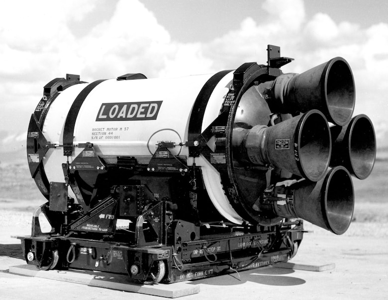 Each solid rocket stage featured four steerable rocket nozzles. This third-stage motor was made by the Hercules Powder Co. (U.S. Air Force photo)