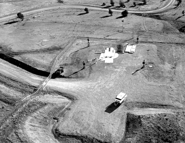 Widely dispersed missile silos were nearly featureless in the open landscape, and most equipment was deep underground. This silo is near Malmstrom Air Force Base, Great Falls, Mont. (U.S. Air Force photo)