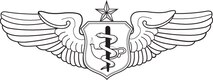 Flight Nurse Badge-Senior.  U.S. Air Force graphic by Corey Parrish of the Defense Media Activity-San Antonio. Image is 8x3 inches @ 72 ppi.